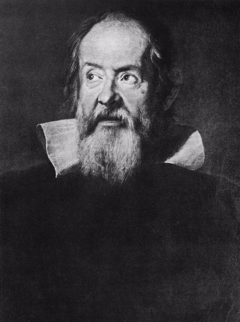 Stock Photo: 4409-23153 Portrait of Galileo Galilei - 1636 - oil on canvas. Author: SUSTERMANS, JUSTUS. Also known as: GALILEO GALILEI, FILOSOFO MATEMATICO FISICO Y ASTRONOMO.