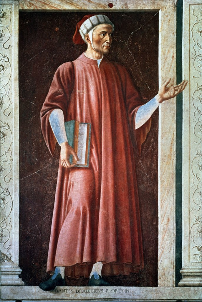 Stock Photo: 4409-23348 Dante Alighieri - ca. 1450 - 247x153 cm - fresco laid on canvas. Author: CASTAGNO ANDREA. Location: GALERIA DE LOS UFFIZI, FLORENZ, ITALIA. Also known as: DANTE ALIGHIERI.