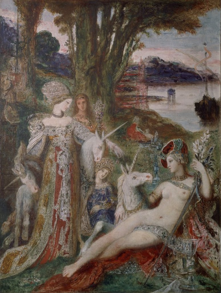 Stock Photo: 4409-23380 The Unicorns - 1885 - 115x90 cm - oil on canvas. Author: MOREAU, GUSTAVE. Location: MUSEO GUSTAVE MOREAU, PARIS, FRANCE. Also known as: LOS UNICORNIOS.