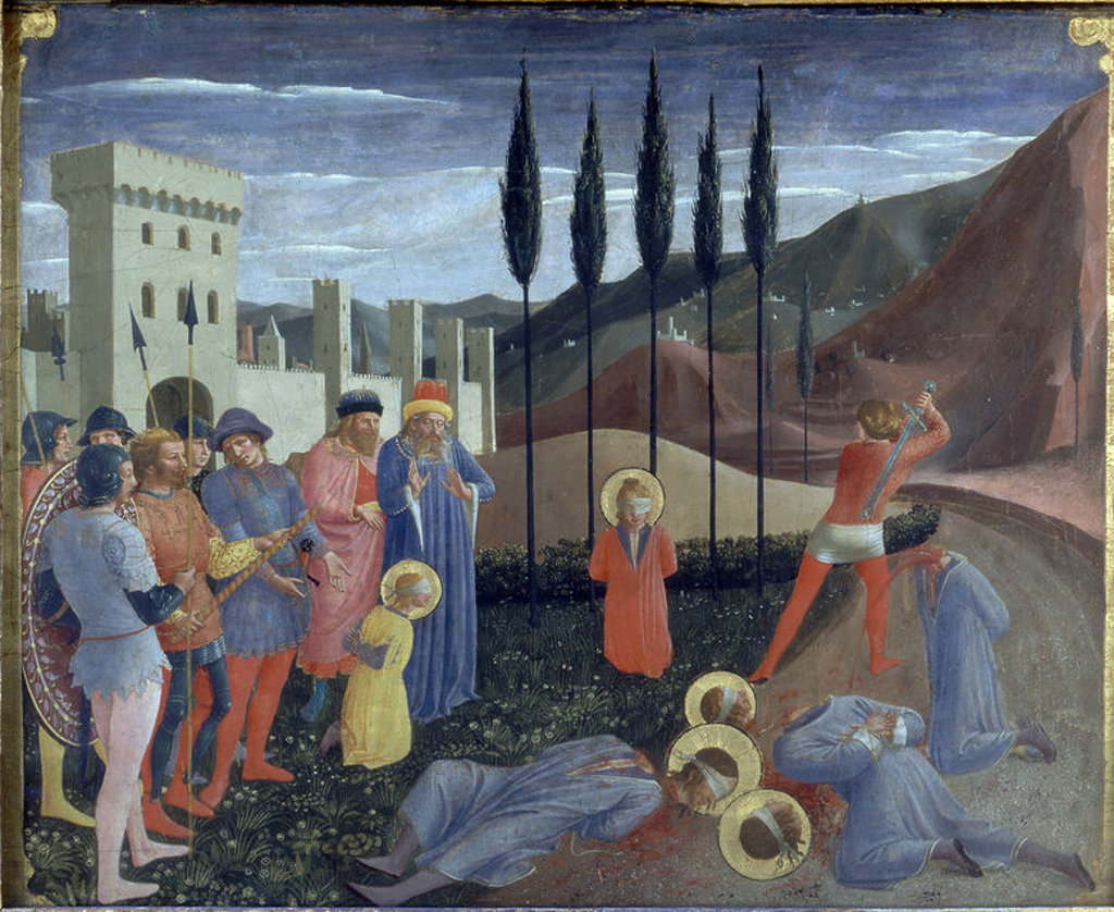 MARTIRIO DE SAN COSME Y SAN DAMIAN- 1438-1440- 37,3x46,1- PREDELA DEL RETABLO DE S MARCOS. Author: FRA ANGELICO. Location: LOUVRE MUSEUM-PAINTINGS, PARIS, FRANCE. : Stock Photo