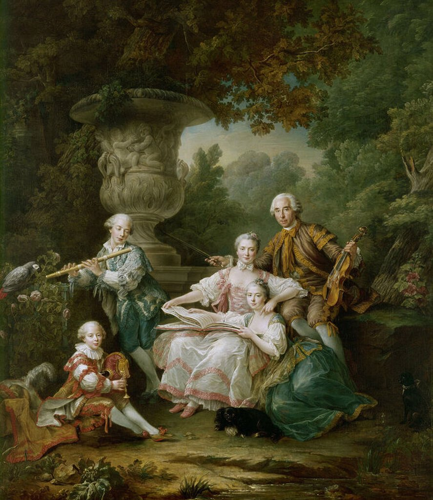 Louis du Bouchet, Marquis de Sourches and his Family, 1750 - 324x284 cm - oil on canvas. Author: DROUAIS FRANCOIS-HUBERT. Location: MUSEO PALACIO, VERSAILLES, FRANCE. Also known as: RETRATO DEL MARQUES DE SOURCHES Y SU FAMILIA. : Stock Photo