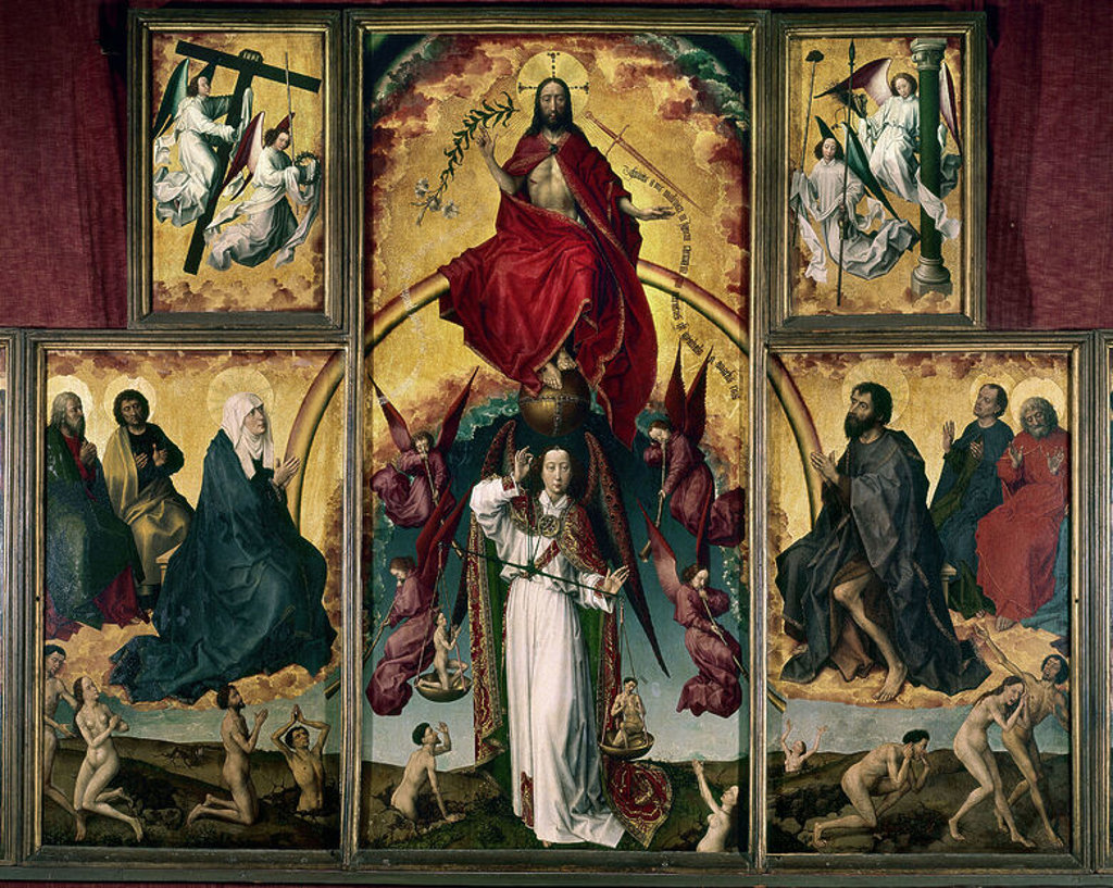 Stock Photo: 4409-23457 Flemish school. Altarpiece of The Last Judgment, central part of the   polyptic. c.1445-1448 . Oil on wood and gold leaf (215 x 260 cm, opened panels). Beaune, musée de l'Hôtel-Dieu. Author: VAN DER WEYDEN ROGER-ROGER DE LA. Location: MUSEE HOTEL-DIEU, BEAUNE, FRANCE.