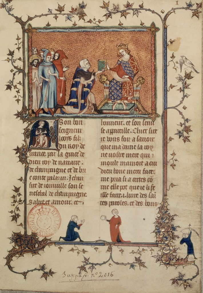 "JEAN DE JOINVILLE OFRECE SU LIBRO ""HISTORIA DE S LUIS"" AL REY LUIS DE NAVARRA - MANUSCRITO 1360. Location: NATIONAL LIBRARY, PARIS, FRANCE. : Stock Photo"
