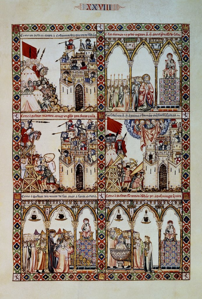 MTI1-CANTIGA DE SANTA MARIA Nº28 - F43R - LA VIRGEN DEFIENDE CONSTANTINOPLA DE LOS MOROS - MINIATURA SIGLO XIII. Author: ALFONSO X OF CASTILE, THE WISE. Location: MONASTERIO-BIBLIOTECA-COLECCION, SAN LORENZO DEL ESCORIAL, MADRID, SPAIN. : Stock Photo