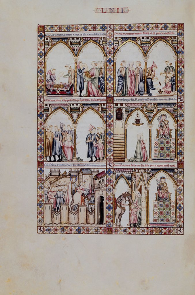 MTI1-CANTIGA STA MARIA Nº62-F 90V-HIJO DEJADO EN PRENDA POR DEUDAS Y RESCATADO POR LA VIRGEN. Author: ALFONSO X OF CASTILE, THE WISE. Location: MONASTERIO-BIBLIOTECA-COLECCION, SAN LORENZO DEL ESCORIAL, MADRID, SPAIN. : Stock Photo