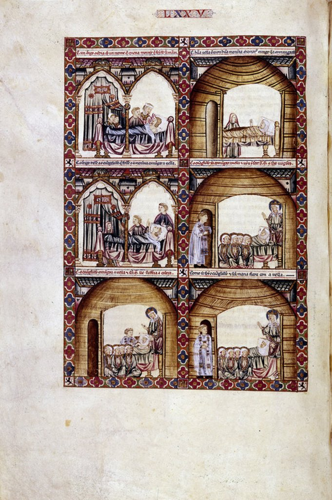 Stock Photo: 4409-23898 MTI1-CANTIGA STA MARIA Nº75-F111V-EL RICO Y EL POBRE A LA HORA DE LA MUERTE-MINIATURA S XIII. Author: ALFONSO X OF CASTILE, THE WISE. Location: MONASTERIO-BIBLIOTECA-COLECCION, SAN LORENZO DEL ESCORIAL, MADRID, SPAIN.