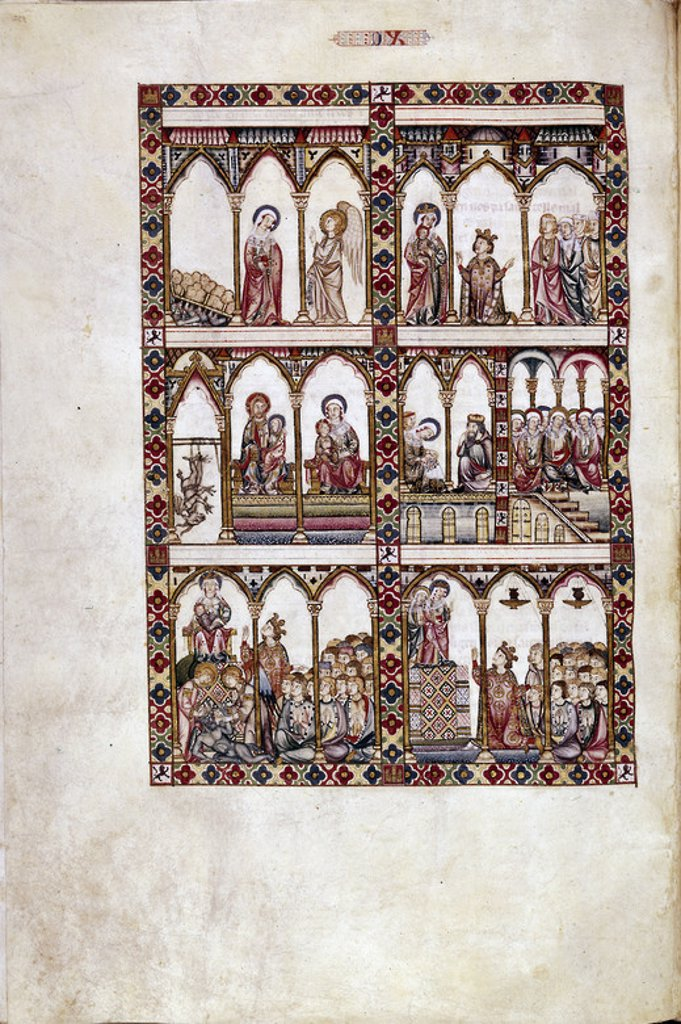 Stock Photo: 4409-23902 MTI1-CANTIGA STA MARIA Nº90-F132R-DE LOOR DE LA VIRGEN,SIN PAR-MINIATURA S XIII. Author: ALFONSO X OF CASTILE, THE WISE. Location: MONASTERIO-BIBLIOTECA-COLECCION, SAN LORENZO DEL ESCORIAL, MADRID, SPAIN.