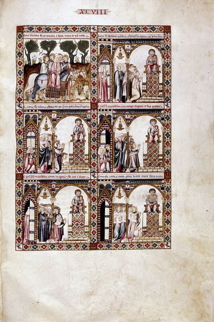 MTI1-CANTIGA STA MARIA Nº98-F143R-PECADORA NO PUEDE ENTRAR EN LA IGLESIA HASTA QUE SE ARREPIENTE-. Author: ALFONSO X OF CASTILE, THE WISE. Location: MONASTERIO-BIBLIOTECA-COLECCION, SAN LORENZO DEL ESCORIAL, MADRID, SPAIN. : Stock Photo
