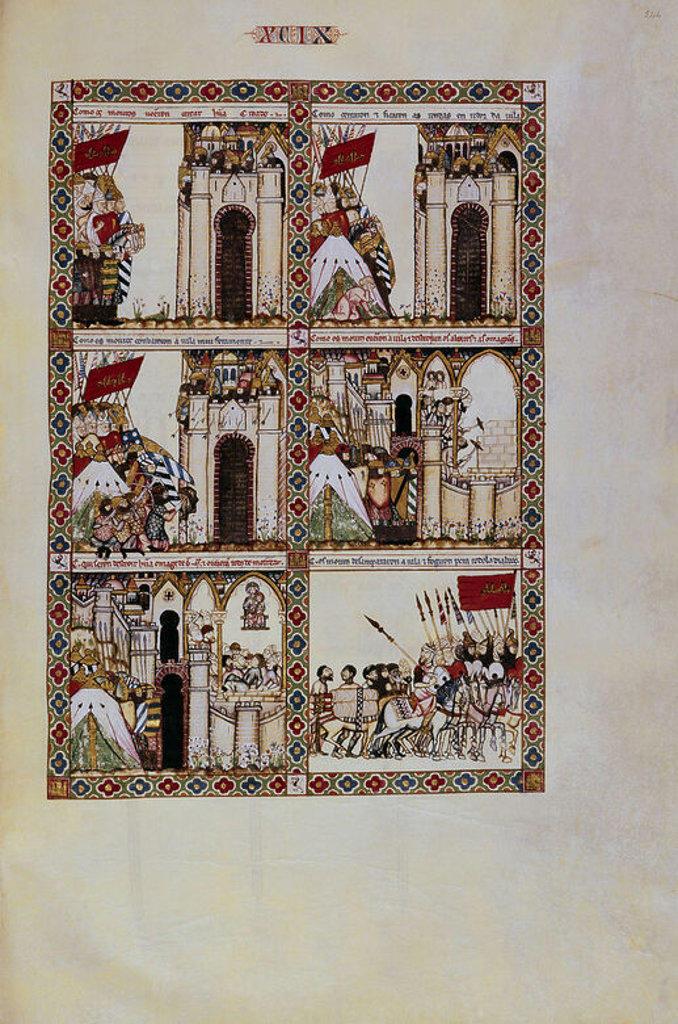 MTI1-CANTIGA STA MARIA Nº99-F144R-VIRGEN DERROTA A LOS MOROS QUE QUERIAN DESTROZAR SU IMAGEN. Author: ALFONSO X OF CASTILE, THE WISE. Location: MONASTERIO-BIBLIOTECA-COLECCION, SAN LORENZO DEL ESCORIAL, MADRID, SPAIN. : Stock Photo
