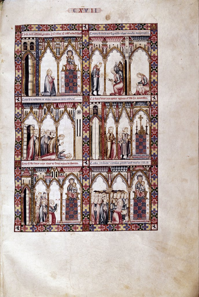 MTI1-CANTIGA STA MARIA Nº117-F167R-MUJER INCUMPLE VOTO Y SE LE TRABAN LAS MANOS A LOS BRAZOS-S XIII. Author: ALFONSO X OF CASTILE, THE WISE. Location: MONASTERIO-BIBLIOTECA-COLECCION, SAN LORENZO DEL ESCORIAL, MADRID, SPAIN. : Stock Photo