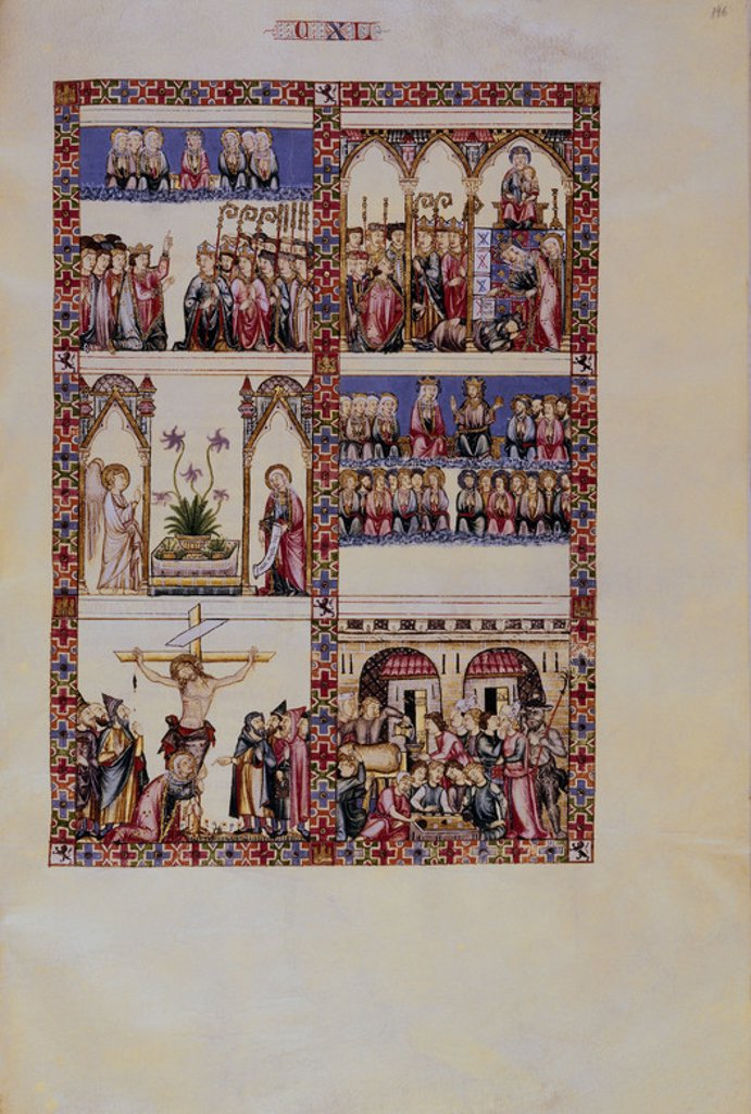 Stock Photo: 4409-23921 Ste. Mary Song # 140. Praise of Ste. Mary - A great help faced with the world and the devil . Loor de Santa Maria - Ayuda frente al mundo y al demonio. Madrid, Library of the Monastery of El Escorial. Author: ALFONSO X OF CASTILE, THE WISE. Location: MONASTERIO-BIBLIOTECA-COLECCION, SAN LORENZO DEL ESCORIAL, MADRID, SPAIN.
