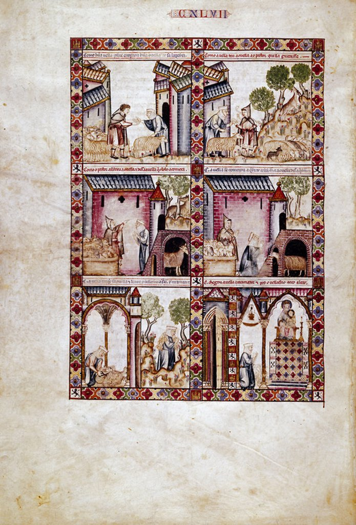 Stock Photo: 4409-23922 Ste. Mary Song # 147. Theft of an ewe bleating to be given back to its owner. Robo de una oveja que bala para ser encontrada por su duena. Madrid, Library of the Monastery of El Escorial. Author: ALFONSO X OF CASTILE, THE WISE. Location: MONASTERIO-BIBLIOTECA-COLECCION, SAN LORENZO DEL ESCORIAL, MADRID, SPAIN.