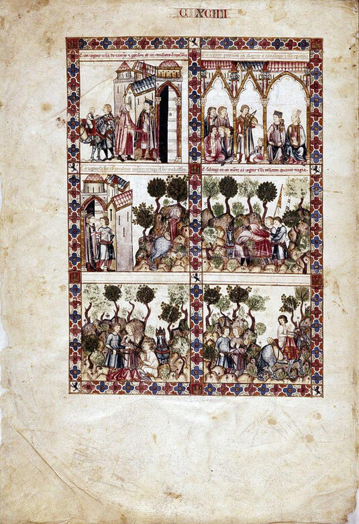 Saint Mary Song # 194. The Virgin saves a juggler attacked by a Catalan cavalryman. Virgen salva a un juglar asaltado por caballero catalan. 13th century. Madrid, Library of the Monastery of El Escorial. Author: ALFONSO X OF CASTILE, THE WISE. Location: MONASTERIO-BIBLIOTECA-COLECCION, SAN LORENZO DEL ESCORIAL, MADRID, SPAIN. : Stock Photo