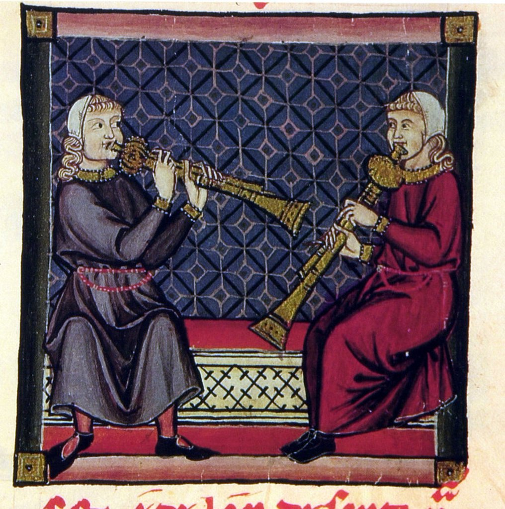 M.B.I.2- CANTIGA SANTA MARIA. CODICE DE LOS MUSICOS Nº 230. ALBOGUE S XIII. Author: ALFONSO X OF CASTILE, THE WISE. Location: MONASTERIO-BIBLIOTECA-COLECCION, SAN LORENZO DEL ESCORIAL, MADRID, SPAIN. : Stock Photo