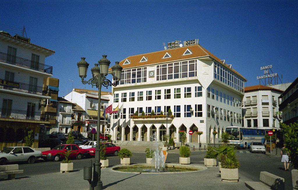 N-AYUNTAMIENTO DE ARGANDA DEL REY EN LA PLAZA DE LA CONSTITUCION. Location: AYUNTAMIENTO NUEVO, MADRID, SPAIN. : Stock Photo