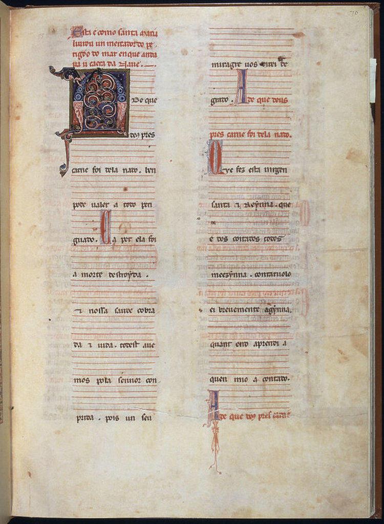 MS B.R.20- CANTIGA STA MARIA Nº297-F70R-TEXTO-ESTROFA EN VERSO GALAICO PORTUGUES- S XIII-. Author: ALFONSO X OF CASTILE, THE WISE. Location: BIBLIOTECA NACIONAL COLECCIÓN, FLORENZ, ITALIA. : Stock Photo