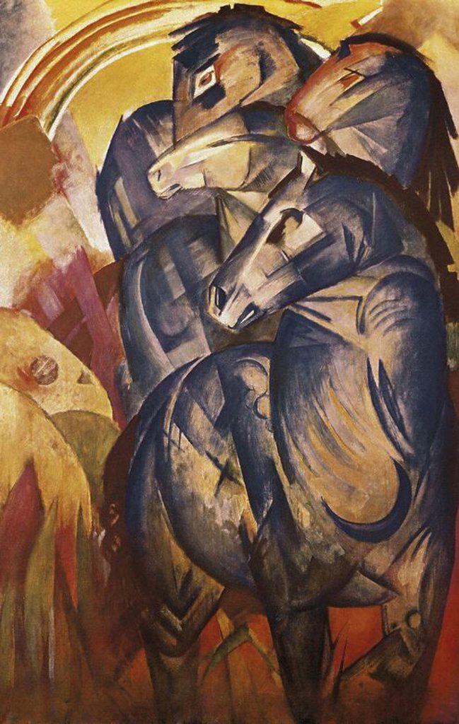 TORRE DE CABALLOS AZULES, 1910, DESAPARECIDA DURANTE LA GUERRA. Author: MARC, FRANZ. : Stock Photo