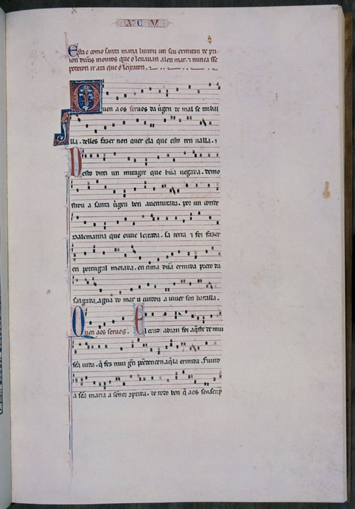 Stock Photo: 4409-24407 MTI1 - CANTIGA DE SANTA MARIA Nº95 - F137 - PENTAGRAMA MUSICAL - ESTROFA EN VERSO GALAICO PORTUGUES - SIGLO XIII. Author: ALFONSO X OF CASTILE, THE WISE. Location: MONASTERIO-BIBLIOTECA-COLECCION, SAN LORENZO DEL ESCORIAL, MADRID, SPAIN.