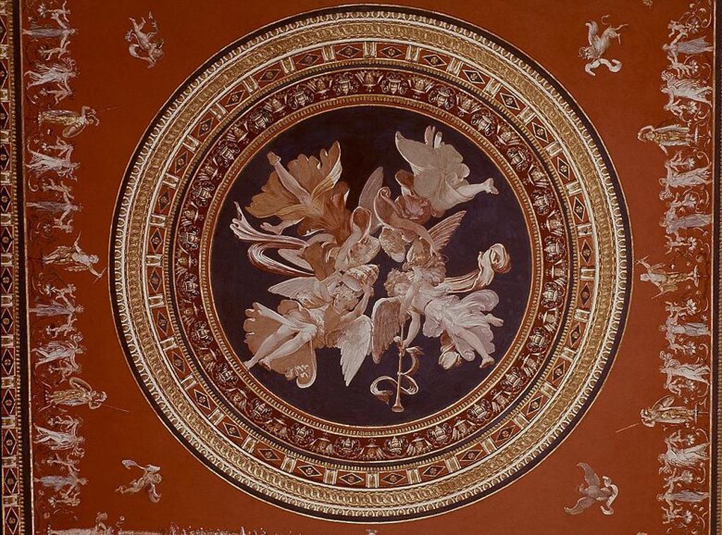 SALA DE LOS PONTIFICES- BOVEDA SIMULADA. Author: PERINO DEL VAGA 1501/1547 / GIOVANNI DE UDINE 1487/. Location: MUSEOS VATICANOS-APARTAMENTOS BORGIA, VATICANO. : Stock Photo