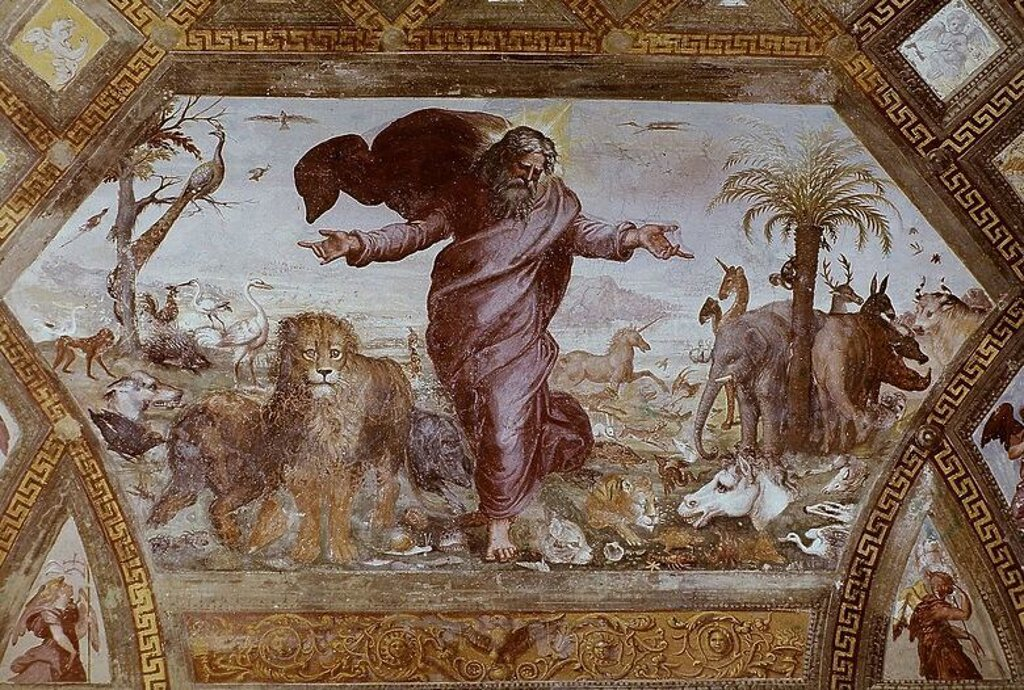 Stock Photo: 4409-25078 Disputa, from the Stanza della Segnatura - 1509 - fresco. Author: RAPHAEL. Location: MUSEOS VATICANOS-ESTANCIA DEL SELLO, VATICANO. Also known as: DISPUTA DEL SACRAMENTO O TRIUNFO DE LA RELIGION.