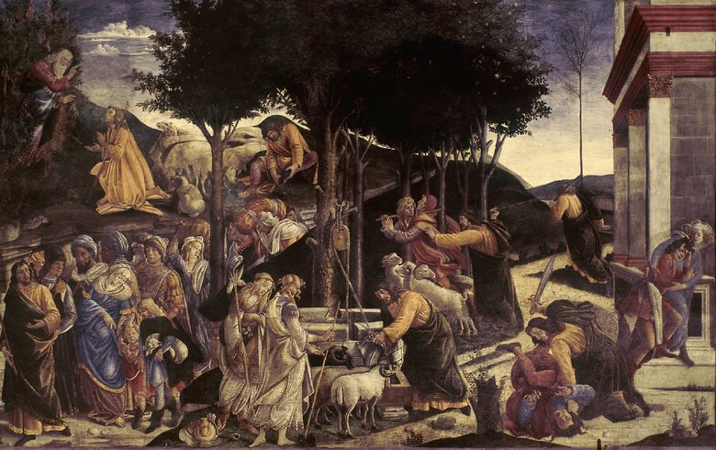 Stock Photo: 4409-25085 The Youth of Moses, in the Sistine Chapel - 1481/83 - fresco. Author: BOTTICELLI, SANDRO. Location: MUSEOS VATICANOS-CAPILLA SIXTINA, VATICANO. Also known as: HECHOS DE LA VIDA DE MOISES EN LOS LATERALES DE LA CAPILLA SIXTINA.