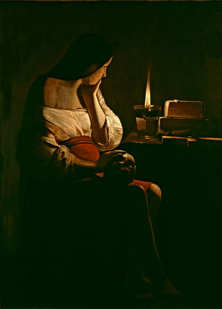 Stock Photo: 4409-25108 Mary Magdalene with a night light- 1630/35 - 128x94 cm - oil on canvas - French Baroque. Author: LA TOUR, GEORGES DE. Location: LOUVRE MUSEUM-PAINTINGS, PARIS, FRANCE. Also known as: LA MAGDALENA; LA MADELEINE A LA VEILLEUSE.