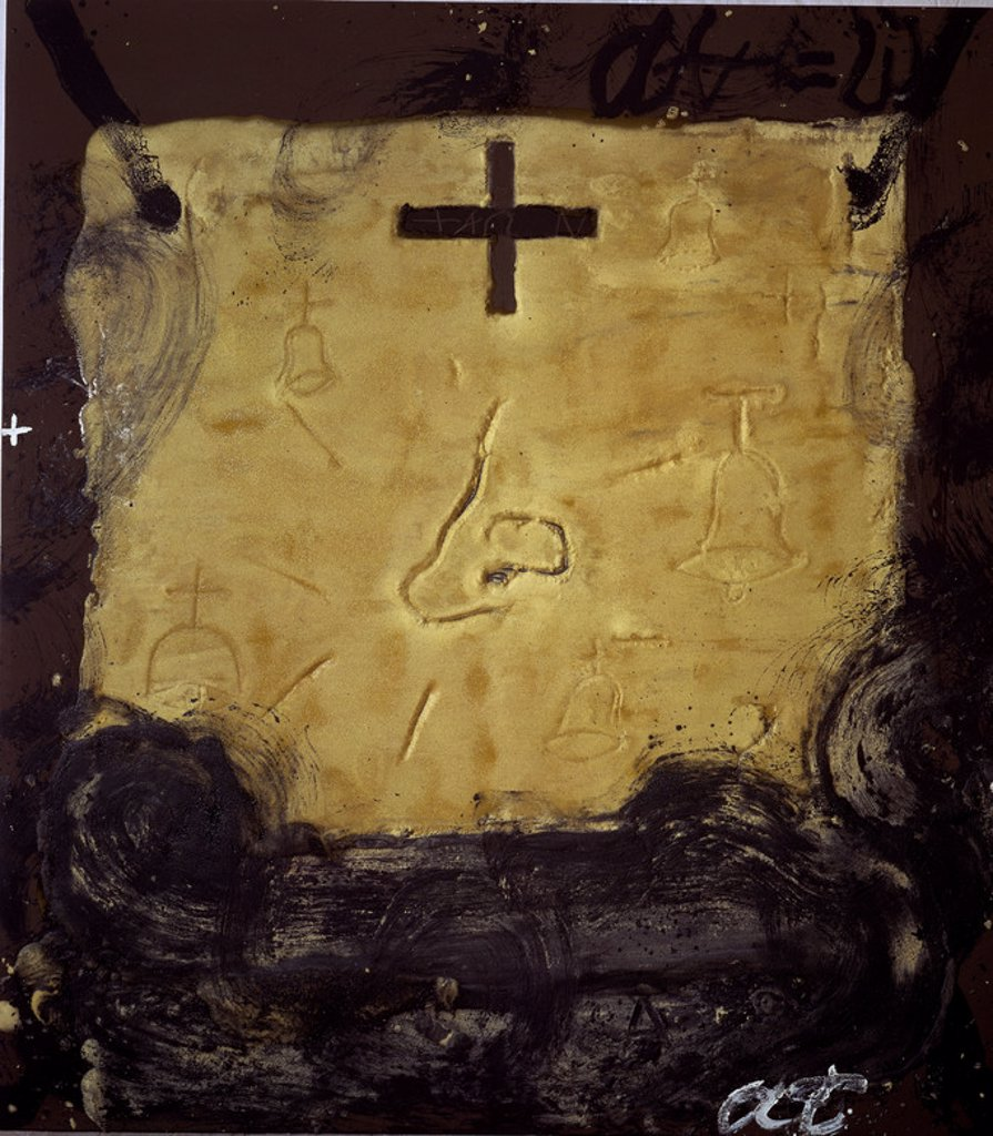 CAMPANAS - 1991 - 225x200. Author: TAPIES, ANTONI. Location: GALERIA SOLEDAD LORENZO, MADRID, SPAIN. : Stock Photo