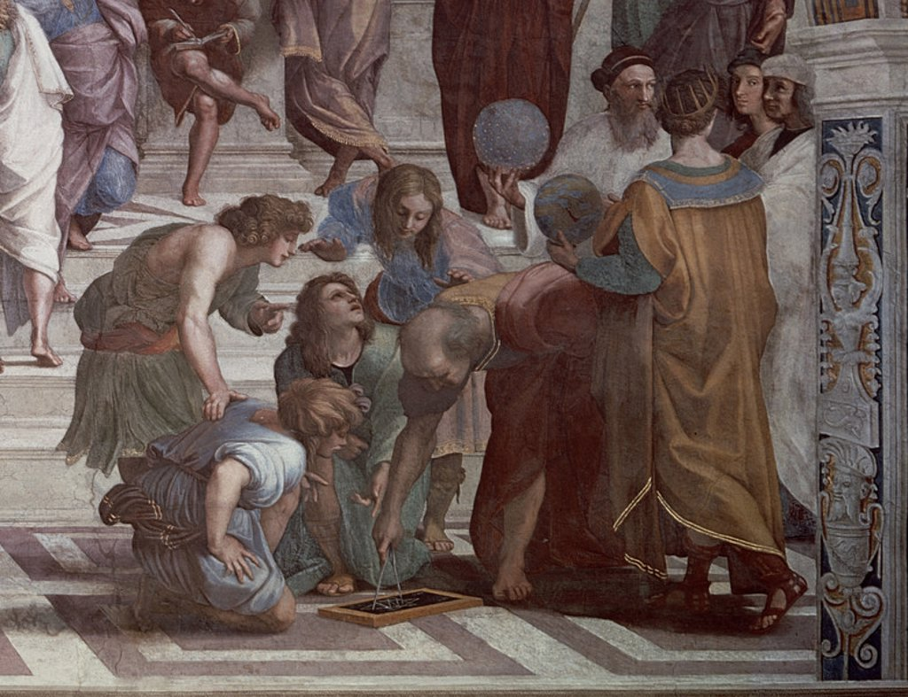 DETALLE - ESTANCIA DE LA SIGNATURA - FRESCO DE LA ESCUELA DE ATENAS (1510-1511) - ANTES DE RESTAURAR. Author: RAPHAEL. Location: MUSEOS VATICANOS-ESTANCIA DEL SELLO, VATICANO. : Stock Photo