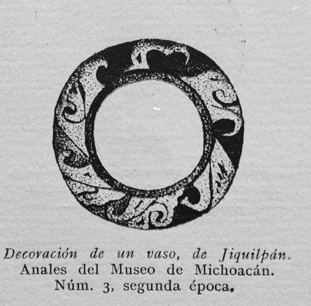 Stock Photo: 4409-25920 DECORACION DE UN VASO DE JIQUILPAN - ANALES DEL MUSEO DE MICHOACAN - NUMERO 3 - SEGUNDA EPOCA. Location: INSTITUTO DE COOPERACION IBEROAMERICANA, MADRID, SPAIN.