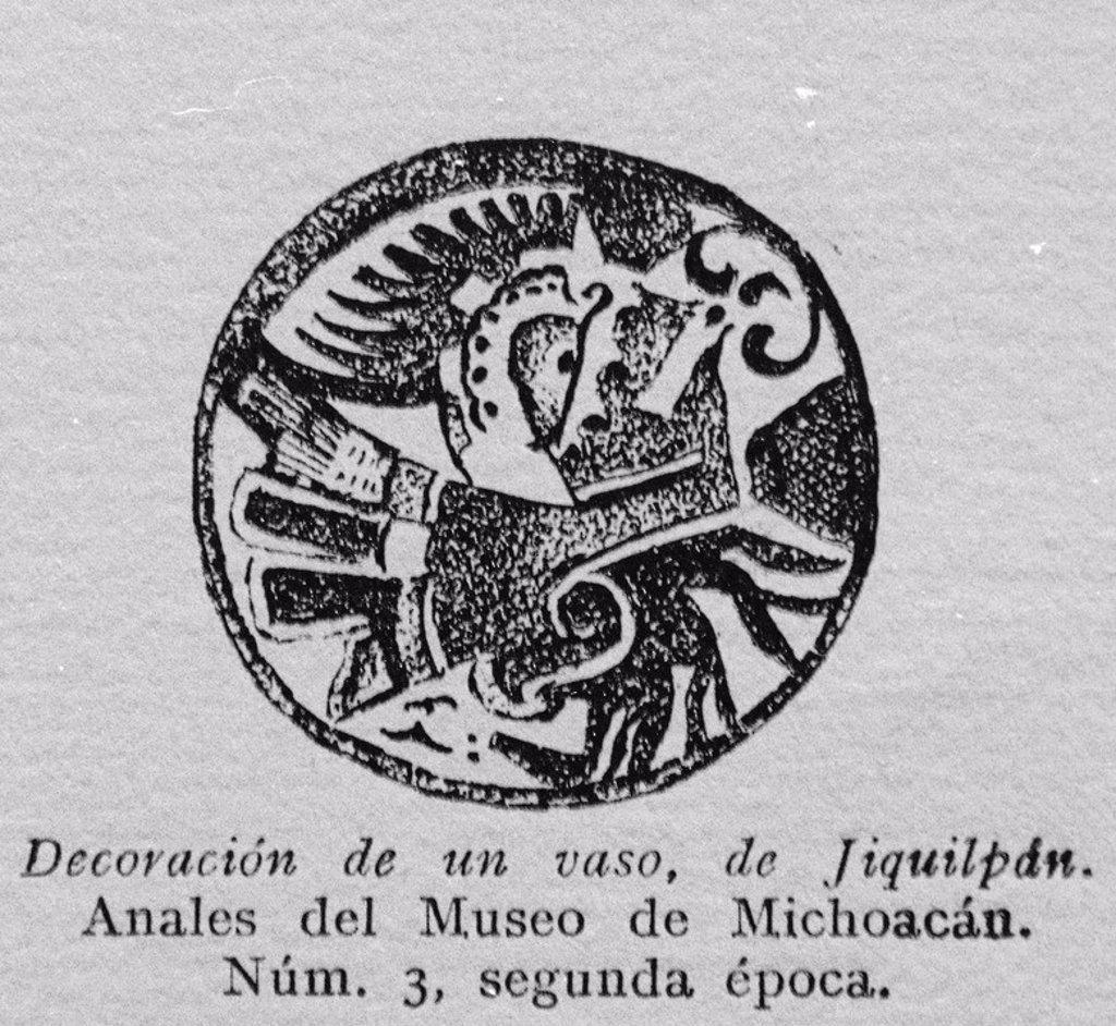 Stock Photo: 4409-25921 DECORACION DE UN VASO DE JIQUILPAN - ANALES DEL MUSEO DE MICHOACAN - NUMERO 3 - SEGUNDA EPOCA. Location: INSTITUTO DE COOPERACION IBEROAMERICANA, MADRID, SPAIN.