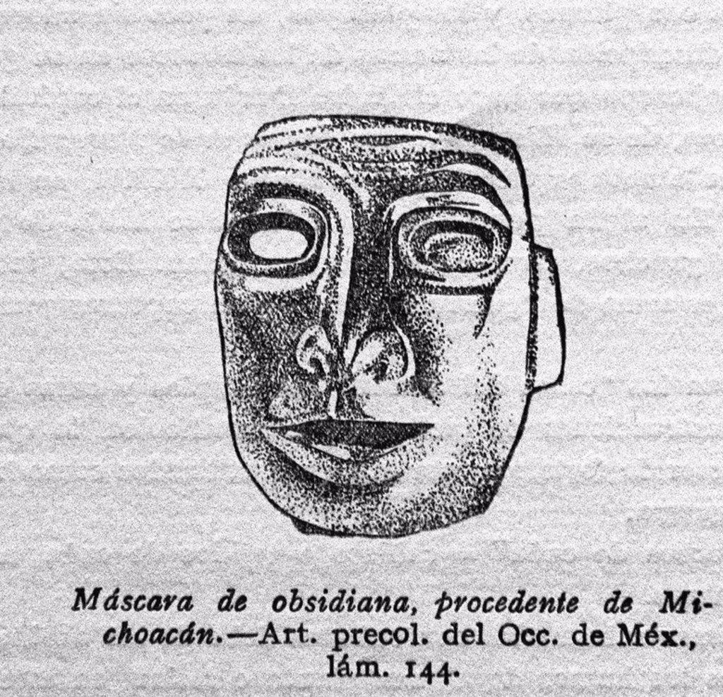 Stock Photo: 4409-25929 MASCARA DE OBSIDIANA PROCEDENTE DE MICHOACAN - ARTE PRECOLOMBINO DEL OCCIDENTE DE MEXICO - LAMINA 144. Location: INSTITUTO DE COOPERACION IBEROAMERICANA, MADRID, SPAIN.