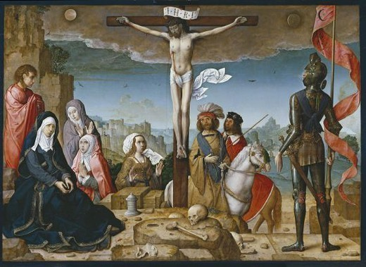 Stock Photo: 4409-26287 LA CRUCIFIXION - 1509-1518 - ESCUELA HISPANO-FLAMENCA - O/T - 123x169 cm. Author: FLANDES, JUAN DE. Location: MUSEO DEL PRADO-PINTURA, MADRID, SPAIN.