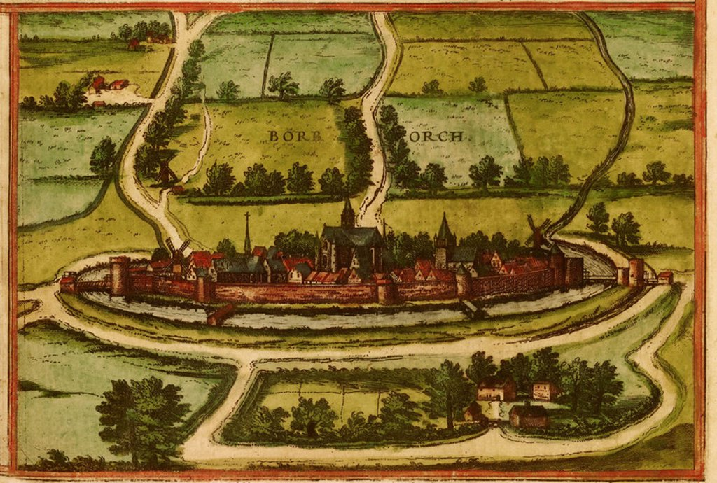 Stock Photo: 4409-26445 CIVITATES ORBIS TERRARUM - BOURBOURG (FRANCIA) - GRABADO - 1575. Author: BRAUN GEORG 1541-1622 / HOGENBERG FRANS. Location: PRIVATE COLLECTION.