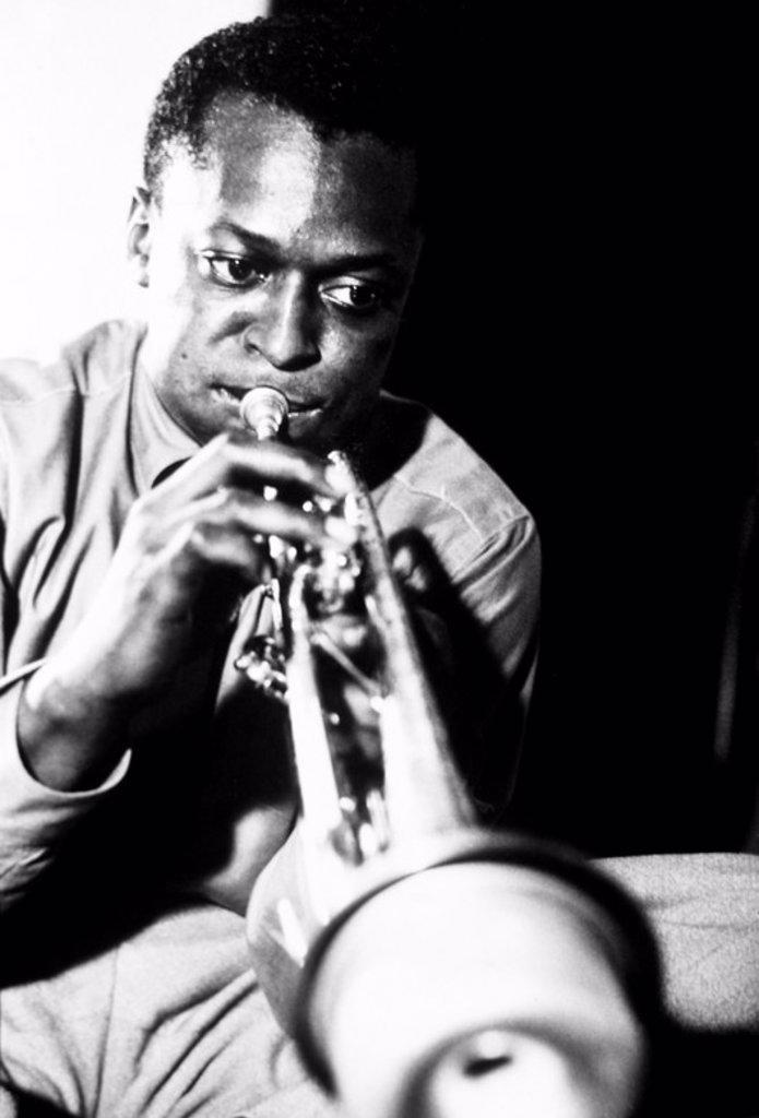 Stock Photo: 4409-28071 Miles Davis playing trumpet.