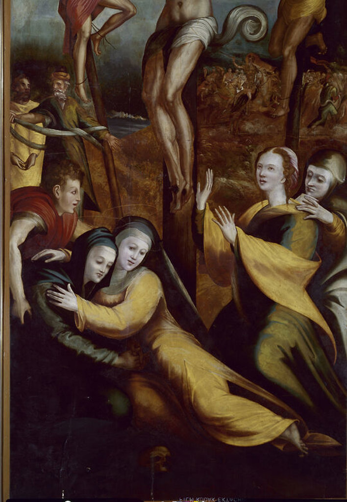 Stock Photo: 4409-2874 Spanish school. Calvary. Calvario. 1526. Painting belonging to the altarpiece of Saint Benoit. Valladolid, national sculpture museum. Author: BERRUGUETE, ALONSO. Location: MUSEO NACIONAL DE ESCULTURA-COLECCION, VALLADOLID, SPAIN.