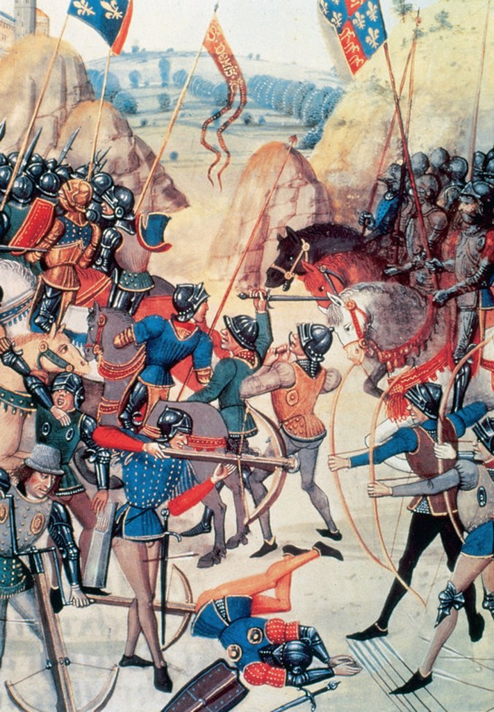 Stock Photo: 4409-29007 THE HUNDRED YEARS WAR (1339-1453). Battle of Crecy where British troops defeated the French of Philip IV on August 26, 1346. National Library. Paris. France.