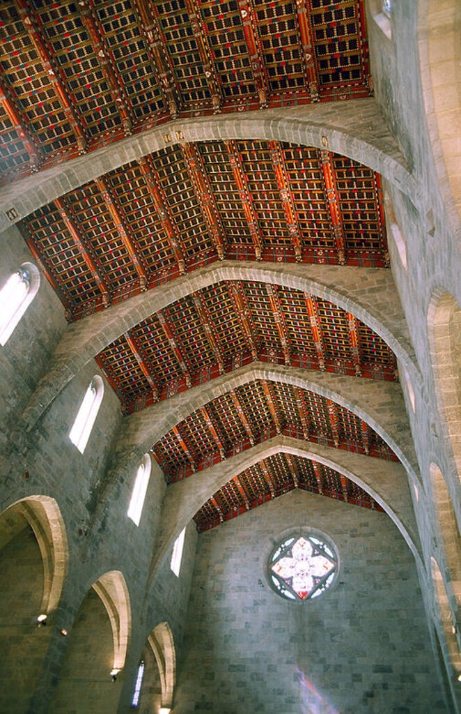 Stock Photo: 4409-29008 Carme Convent. Interior of the church, consecrated in 1400. Peralada. Girona province. Catalonia. Spain.