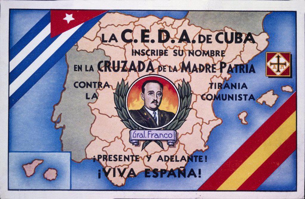 Cartel editado en La Habana (Cuba), por la confederación Española de Derechos Autónomos - CEDA. Zona Nacional. Año 1939. Guerra civil 1936-1939. : Stock Photo