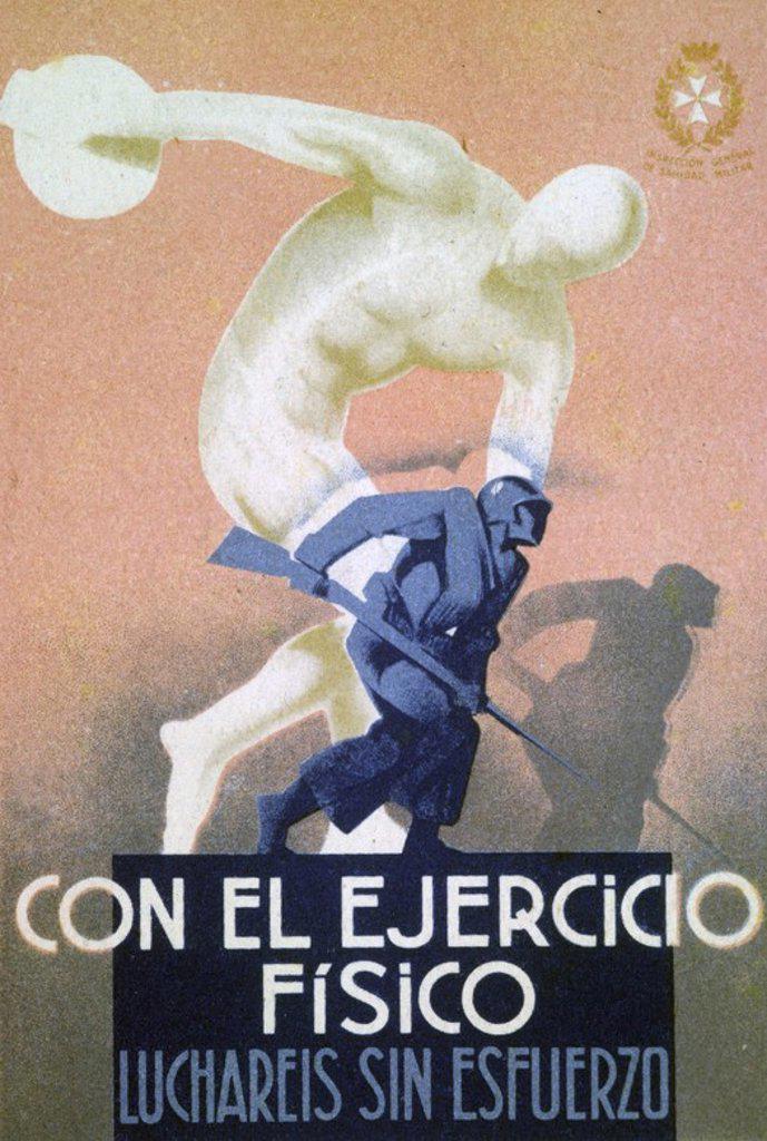 Stock Photo: 4409-30166 Cartel Ejercicio Físico editado en Barcelona por la Inspección General de Sanidad Militar. Año 1937. Zona Republicana. Guerra civil 1936-1939.