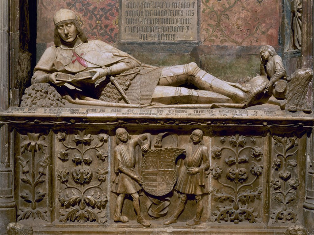 "Stock Photo: 4409-3029 Statue ""page-boy"". Grave of Don Martin Vazquez de Arce. 15th century. Sigüenza cathedral. Province of Guadalajara. Spain. Author: ALMONACID SEBASTIAN TALLER DE. Location: CATEDRAL, SPAIN."
