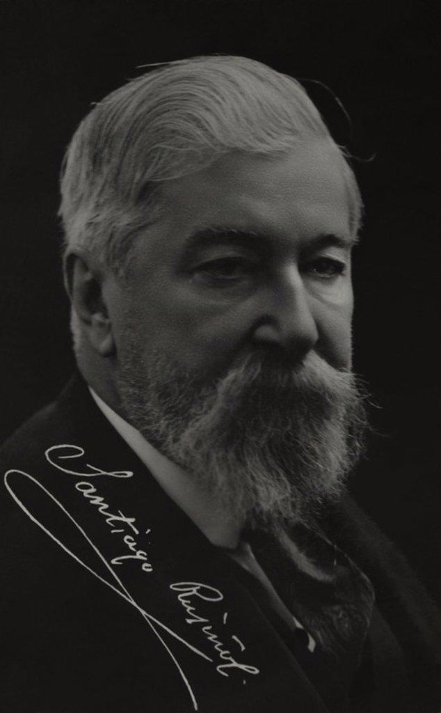 RUSIÑOL PRATS, Santiago (1861-1931). Autor dramático, narrador, pintor i coleccionista. Miembro del movimiento artístico Quatre Gats. : Stock Photo