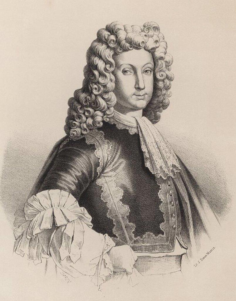 Stock Photo: 4409-30337 Luis I (1707-1724), primogénito de Felipe V y Maria Luisa de Saboya. Rey de España en 1724. Grabado de 1870.