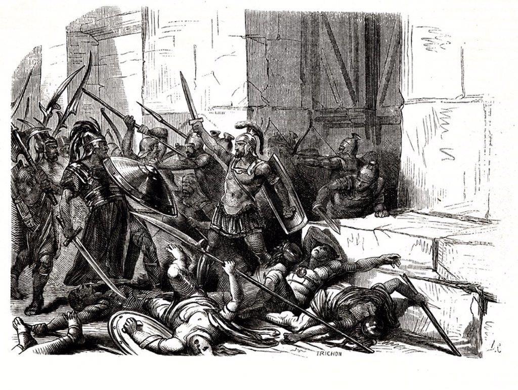 Stock Photo: 4409-30409 Flavio Belisario (494-565), general bizantino. Justiniano le nombró primer general del Imperio Romano. Defendió Roma con heroísmo frente a los ostrogodos dirigidos por su Rey Vitiges, los años 537 y 538. Grabado de 1866.