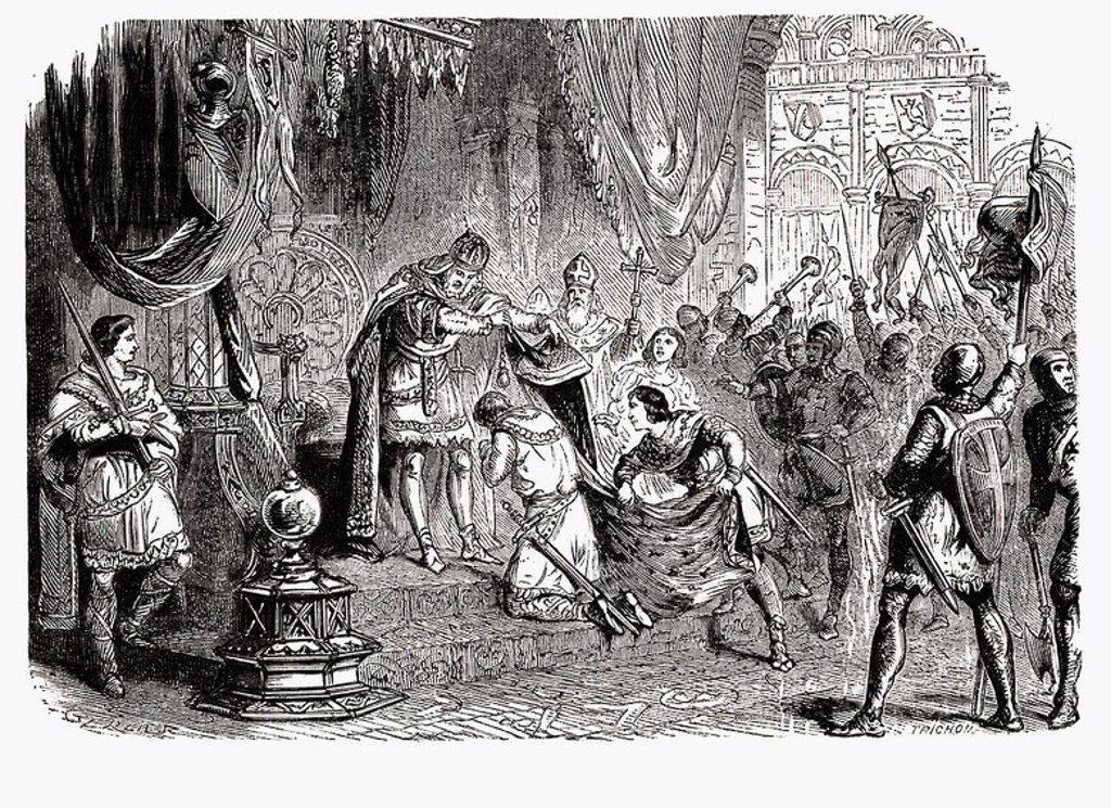 Stock Photo: 4409-30450 Godofredo IV de Bouillo (1061-1100). Cruzado, Gran Maestre de la Orden del Temple. Duque de Bajo Lorena. Protector del Santo Sepulcro. Grabado de 1866.
