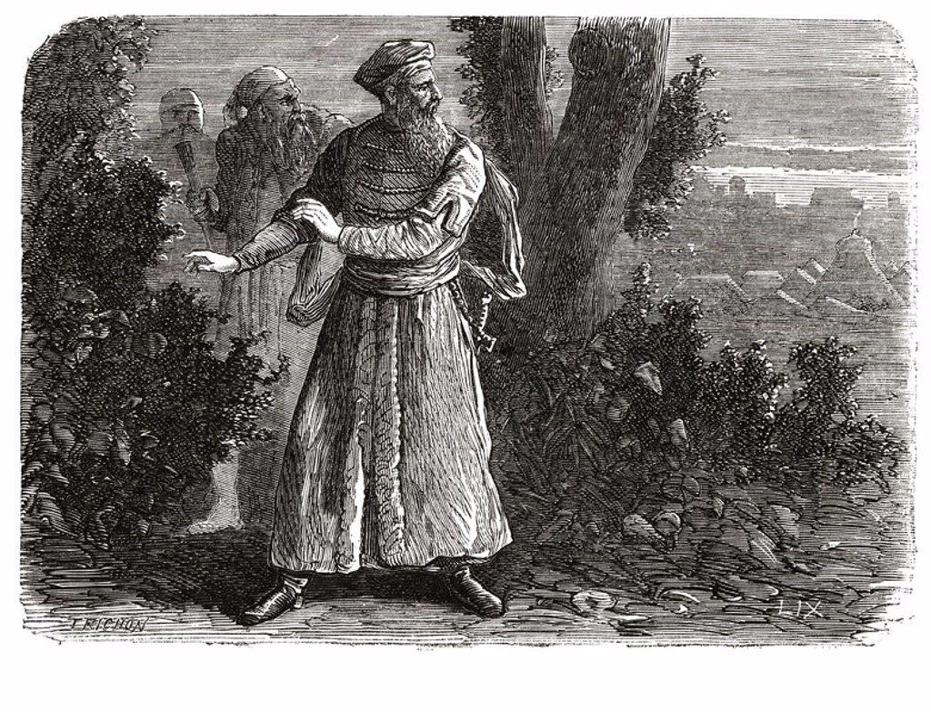 "Stock Photo: 4409-30484 Jorge Scanderberg, llamado ""Castriota"" (1408-1468). Aristócrata y militar albanés, luchó contra los turcos. Grabado de 1866."