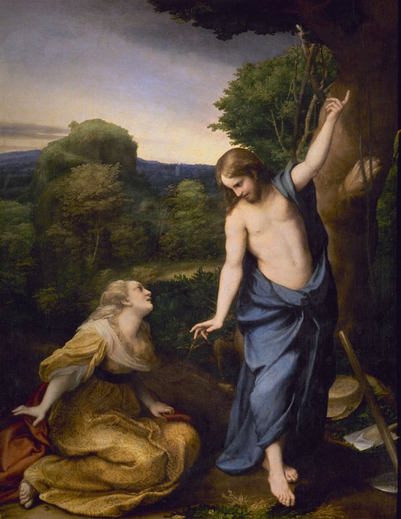 Stock Photo: 4409-3080 Noli Me Tangere - ca. 1525 - oil on canvas - 130x103 - Italian Renaissance - NP 111. Author: CORREGGIO. Location: MUSEO DEL PRADO-PINTURA, MADRID, SPAIN. Also known as: NOLI ME TANGERE.
