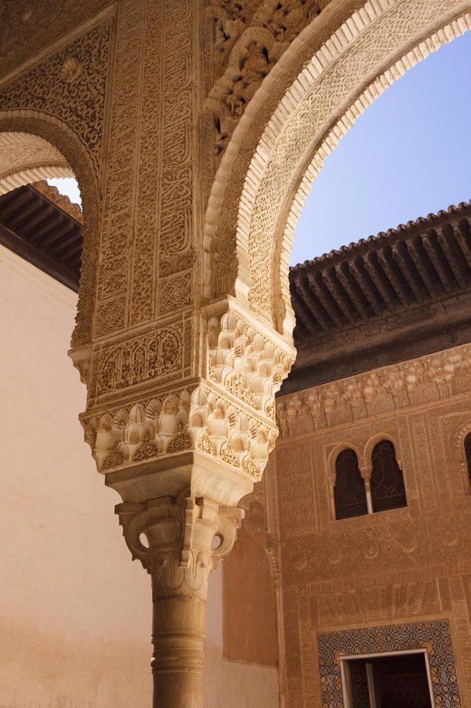 Los Palacios Nazaries. Alhambra de Granada. Granada City. Andalusia. Spain. : Stock Photo