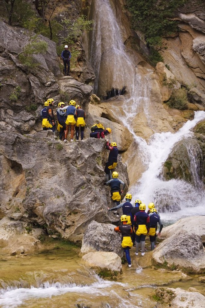 Canyoning in Guadalquivir river. Sierra de Cazorla Natural Park. Jaen. Andalusia. Spain. : Stock Photo