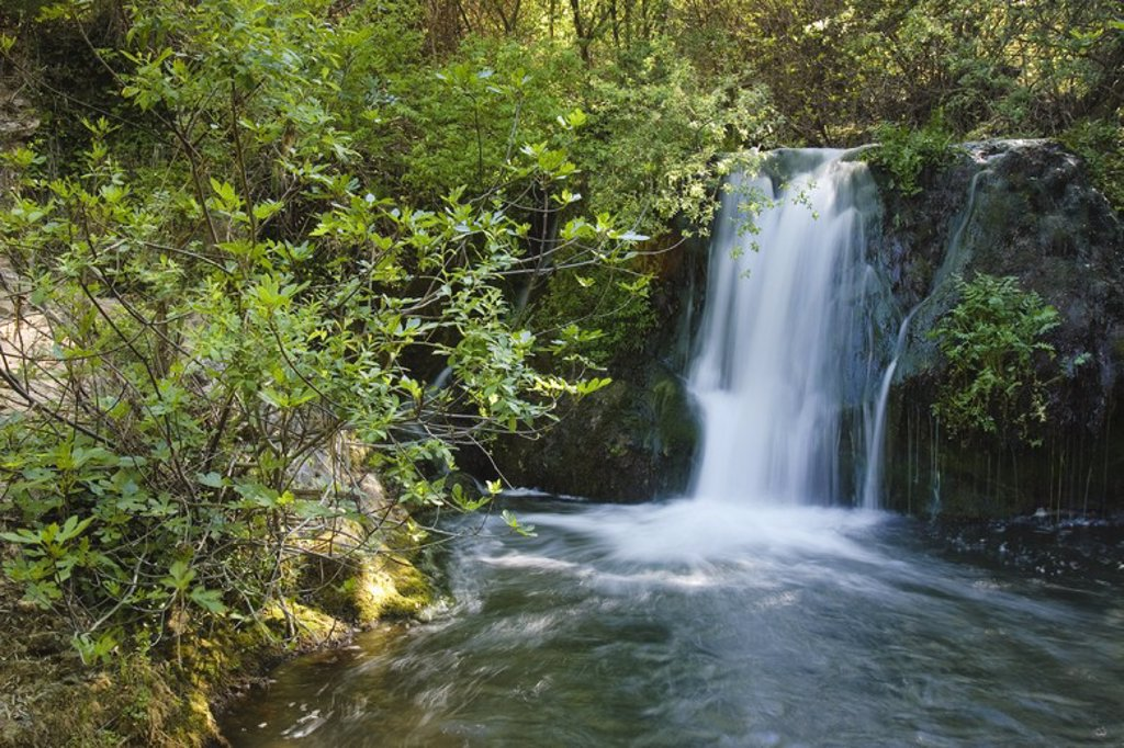 Waterfall of the Huesnar River. Sierra Norte Natural Park. Sevilla. Andalusia. Spain. : Stock Photo