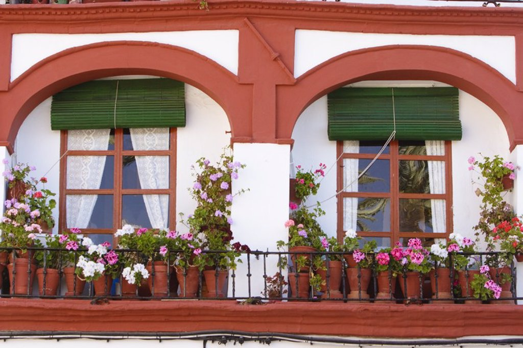 Stock Photo: 4409-31206 Balcony in Carmona Town. Sevilla. Andalusia. Spain.